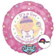 ΜΠΑΛΟΝΙ FOIL 71cm ΓΙΑ ΓΕΝΝΗΣΗ ΜΟΥΣΙΚΟ  «It's a Girl Congratulations» – ΚΩΔ.:512907-BB