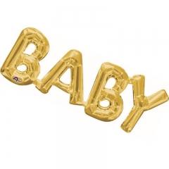 ΜΠΑΛΟΝΙ FOIL 66x22cm ΓΙΑ ΓΕΝΝΗΣΗ SUPERSHAPE «Baby» ΧΡΥΣΗ ΦΡΑΣΗ – ΚΩΔ.:533763-BB