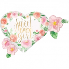 ΜΠΑΛΟΝΙ FOIL 68x50cm ΓΙΑ ΓΕΝΝΗΣΗ SUPERSHAPE «Sweet Baby Girl»  ΦΛΟΡΑΛ ΛΟΥΛΟΥΔΙΑ – ΚΩΔ.:538514-BB