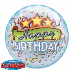 """ΜΠΑΛΟΝΙ FOIL 22""""(56cm) ΑΣΤΕΡΙΑ «Happy Birthday» Bubble ΜΟΝΟ – ΚΩΔ.:13018-BB"""