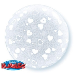 "ΜΠΑΛΟΝΙ FOIL 20""(50cm) HEARTS ALL AROUND DECO Bubble – ΚΩΔ.:15610-BB"