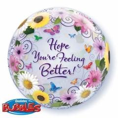"""ΜΠΑΛΟΝΙ FOIL 22""""(56cm) ΛΟΥΛΟΥΔΙΑ «Hope You're Feeling Better» Bubble ΜΟΝΟ – ΚΩΔ.:18695-BB"""