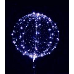 """ΜΠΑΛΟΝΙ FOIL 22""""(56cm) ΔΙΑΦΑΝΟ Bubble ΜΕ ΜΠΛΕ LED 3 ΜΕΤΡΑ ΧΑΛΚΟΥ STRIPE  – ΚΩΔ.:206313b-BB"""