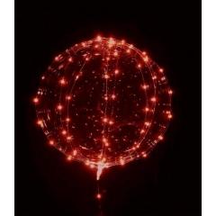 """ΜΠΑΛΟΝΙ FOIL 22""""(56cm) ΔΙΑΦΑΝΟ Bubble ΜΕ ΚΟΚΚΝΟ LED 3 ΜΕΤΡΑ ΧΑΛΚΟΥ STRIPE  – ΚΩΔ.:206313r-BB"""