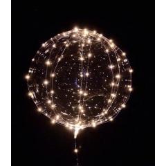 """ΜΠΑΛΟΝΙ FOIL 22""""(56cm) ΔΙΑΦΑΝΟ Bubble ΜΕ ΛΕΥΚΟ LED 3 ΜΕΤΡΑ ΧΑΛΚΟΥ STRIPE  – ΚΩΔ.:206313w-BB"""