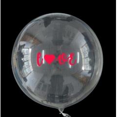 """ΜΠΑΛΟΝΙ FOIL 18""""(45cm) ΕΝΤΥΠΩΣΙΑΚΟ ΔΙΑΦΑΝΟ Bubble ΜΕ ΑΥΤΟΚΟΛΛΗΤΟ «Love» – ΚΩΔ.:206318-BB"""