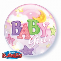 """ΜΠΑΛΟΝΙ FOIL 22""""(56cm) «Baby Girl»  Bubble ΜΟΝΟ – ΚΩΔ.:23598-BB"""