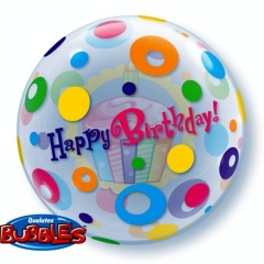 "ΜΠΑΛΟΝΙ FOIL 22""(56cm) CUP CAKE «Happy Birthday» Bubble ΜΟΝΟ – ΚΩΔ.:23606-BB"