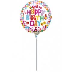 ΜΠΑΛΟΝΙ FOIL MINI SHAPE 9''(23cm) «Happy Birthday» ΜΕ ΛΟΥΛΟΥΔΙΑ – ΚΩΔ.:530875-BB