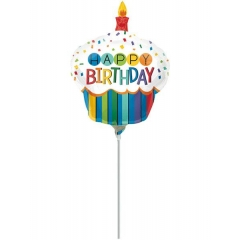ΜΠΑΛΟΝΙ FOIL MINI SHAPE 23cm «Happy BIrthday» RAINBOW CUPCAKE – ΚΩΔ.:535563-BB
