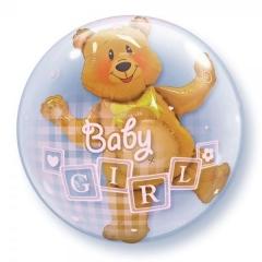 """ΜΠΑΛΟΝΙ FOIL 24""""(61cm) ΑΡΚΟΥΔΑΚΙ «Baby Girl» Bubble ΔΙΠΛΟ – ΚΩΔ.:68647-BB"""