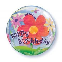 """ΜΠΑΛΟΝΙ FOIL 22""""(56cm) ΛΟΥΛΟΥΔΙΑ «Happy BIrthday» Bubble ΜΟΝΟ – ΚΩΔ.:68650-BB"""