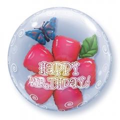 """ΜΠΑΛΟΝΙ FOIL 24""""(61cm) ΛΟΥΛΟΥΔΙ «Happy Birthday» Bubble ΔΙΠΛΟ – ΚΩΔ.:68805-BB"""