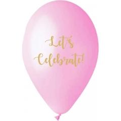 ΡΟΖ ΜΠΑΛΟΝΙΑ ΤΥΠΩΜΕΝΑ «Let's Celebrate» 13'' (33cm) – ΚΩΔ.:13613282-BB