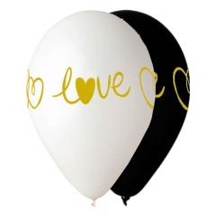 ΜΑΥΡΑ ΚΑΙ ΛΕΥΚΑ ΜΠΑΛΟΝΙΑ ΤΥΠΩΜΕΝΑ «Love» 13'' (33cm) – ΚΩΔ.:13613288-BB