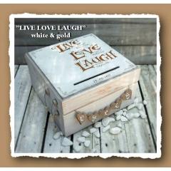 ΚΟΥΤΙ ΕΥΧΩΝ ΞΥΛΙΝΟ - ΚΩΔ: LIVE-LOVE-LAUGH-WHITE-GOLD-BM