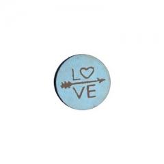 """Ξύλινο Στοιχείο Στρογγυλό Επίπεδο """"Love"""" Βέλος 12mm - ΚΩΔ:76040159-NG"""