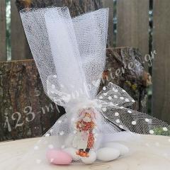 Μπομπονιέρα Βάπτισης ξύλινο μπρελόκ Sarah Kay με τούλι - Κωδ:MPO-50586
