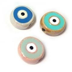 Κεραμική Χάντρα με Σμάλτο Μάτι Στρογγυλό Πλακέ 16mm (Ø2.8mm) - ΚΩΔ:A1350-NG
