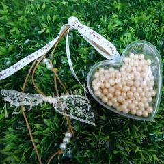 Μπομπονιέρα Γάμου καρδούλα διάφανη με διακοσμητικά κουφετάκια περλίτσες - Κωδ:MPO-04980