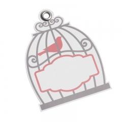 Χάρτινη ετικέτα πουλάκι σε κλουβί - ΚΩΔ:81542-PR
