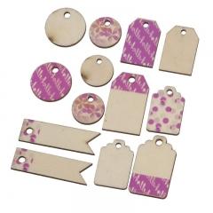 Καρτέλα με ροζ ξύλινες αυτοκόλλητες ετικέτες - ΚΩΔ:K0223-PR
