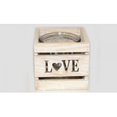 ΤΕΤΡΑΓΩΝΟ ΚΗΡΟΠΗΓΙΟ  LOVE ΜΕ ΓΥΑΛΑ - ΚΩΔ:619012