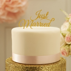 ΔΙΑΚΟΣΜΗΤΙΚΟ ΓΙΑ ΤΟΥΡΤΑ JUST MARRIED - ΧΡΥΣΟ - ΚΩΔ:PP-609-GY