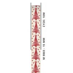 ΚΟΡΔΕΛΑ ΕΚΡΟΥ ΧΡΙΣΤΟΥΓΕΝΝΙΑΤΙΚΗ ΜΕ ΔΕΝΤΡΑΚΙΑ 1,5cm x 10μ - ΚΩΔ:M9865-AD