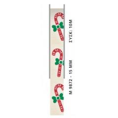 ΚΟΡΔΕΛΑ ΧΡΙΣΤΟΥΓΕΝΝΙΑΤΙΚΗ ΜΕ ΜΠΑΣΤΟΥΝΑΚΙΑ  1,5cm x 10μ - ΚΩΔ:M9872-AD
