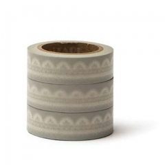 WASHI TAPE ΓΚΡΙ ΜΕ ΛΕΥΚΗ ΔΑΝΤΕΛΑ -15MMΧ10M - ΚΩΔ:102726-GN