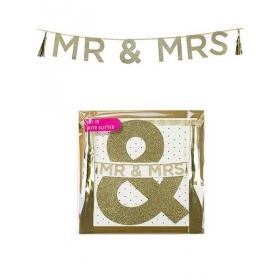 Γιρλάντα Χρυσή MR AND MRS - ΚΩΔ:SAY-MRANDMRS-JP