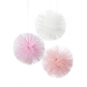 Τούλινο Διακοσμητικό Pom Pom - ΚΩΔ:PINK-TULLEPOMPOM-JP