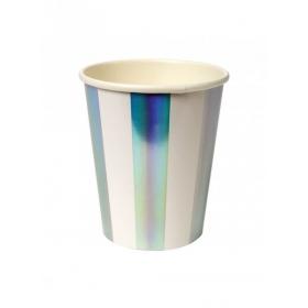 Ποτήρια Χάρτινα Ριγέ Ασημί - ΚΩΔ:150004-JP