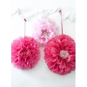 Διακοσμητικά Λουλούδια Pom Pom - ΚΩΔ:DDGDN-POMFLOWER-PK-JP