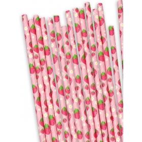 Χάρτινα καλαμάκια Φράουλες - ΚΩΔ:12831-JP