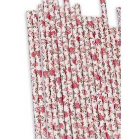 Χάρτινα καλαμάκια ΣΟΜΟΝ- Vintage Floral - ΚΩΔ:12833-JP