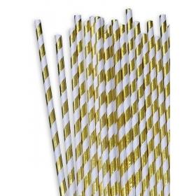 Χάρτινα καλαμάκια ριγέ Χρυσό Μεταλλιζέ - ΚΩΔ:12838-JP