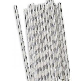 Χάρτινα καλαμάκια ριγέ Ασημί Μεταλλιζέ - ΚΩΔ:12839-JP