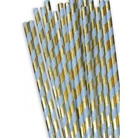 Χάρτινα καλαμάκια ριγέ Χρυσό-Σιέλ Μεταλλιζέ - ΚΩΔ:12842-JP