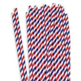 Χάρτινα καλαμάκια ριγέ Κόκκινο-Μπλε - ΚΩΔ:12845-JP