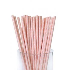Καλαμάκια χάρτινα ροζ λευκό πουά - ΚΩΔ:6918-JP