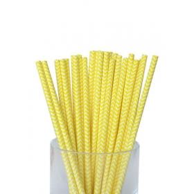 Καλαμάκια χάρτινα κίτρινα ζικ ζακ - ΚΩΔ:7950-JP