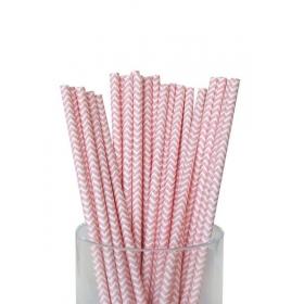 Καλαμάκια χάρτινα ροζ ζικ ζακ - ΚΩΔ:7956-JP