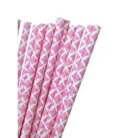 Καλαμάκια χάρτινα φούξια damask - ΚΩΔ:7959-JP