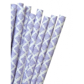 Καλαμάκια χάρτινα λιλά damask - ΚΩΔ:7962-JP