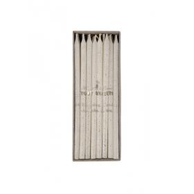 Silver Glitter Κεράκια Γενεθλίων 24τμχ - ΚΩΔ:142183-JP