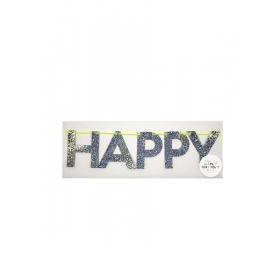 Ασημένια γκλίτερ Γιρλάντα Happy Birthday - ΚΩΔ:156007-JP