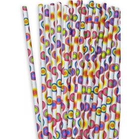 Χάρτινα καλαμάκια Πολύχρωμοι Κύκλοι - ΚΩΔ:12834-JP