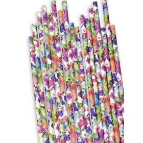 Χάρτινα καλαμάκια Λουλούδια - ΚΩΔ:12835-JP